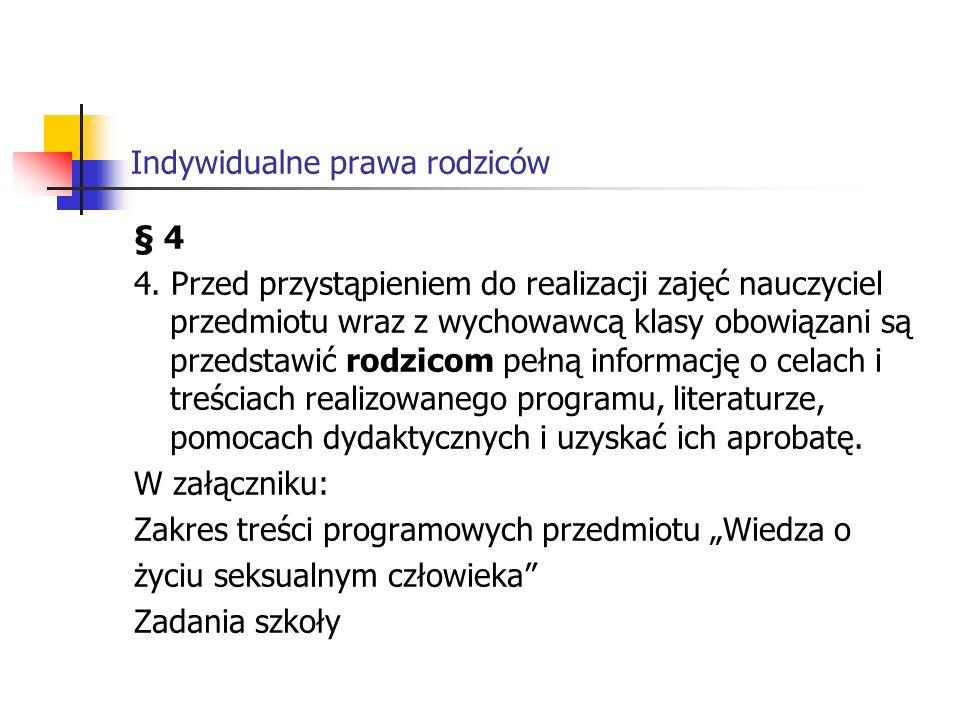 Indywidualne prawa rodziców § 4 4.