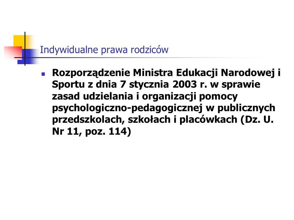 Indywidualne prawa rodziców Rozporządzenie Ministra Edukacji Narodowej i Sportu z dnia 7 stycznia 2003 r.