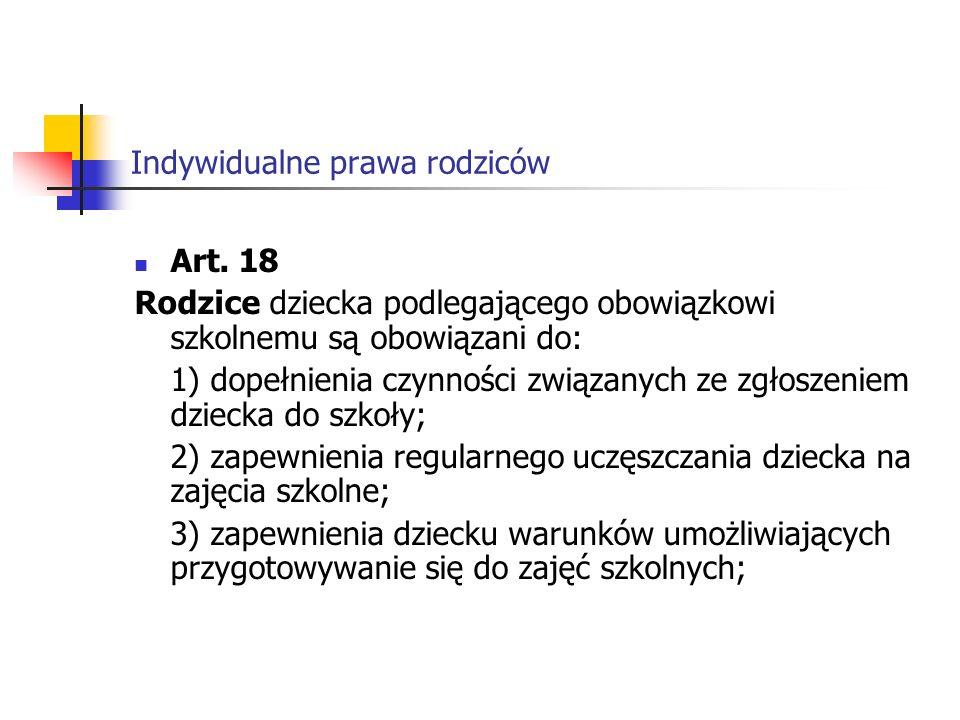 Indywidualne prawa rodziców Art.