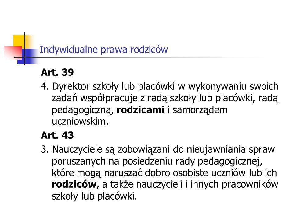 Indywidualne prawa rodziców Art.39 4.