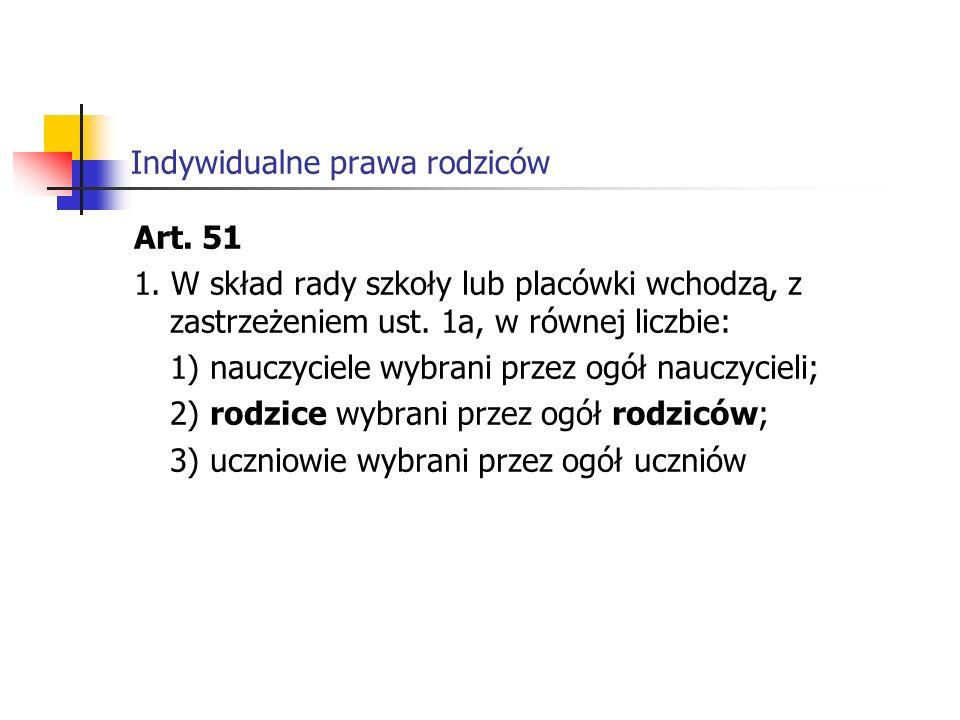 Indywidualne prawa rodziców Art.51 1.