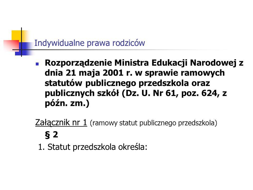 Indywidualne prawa rodziców Rozporządzenie Ministra Edukacji Narodowej z dnia 21 maja 2001 r.