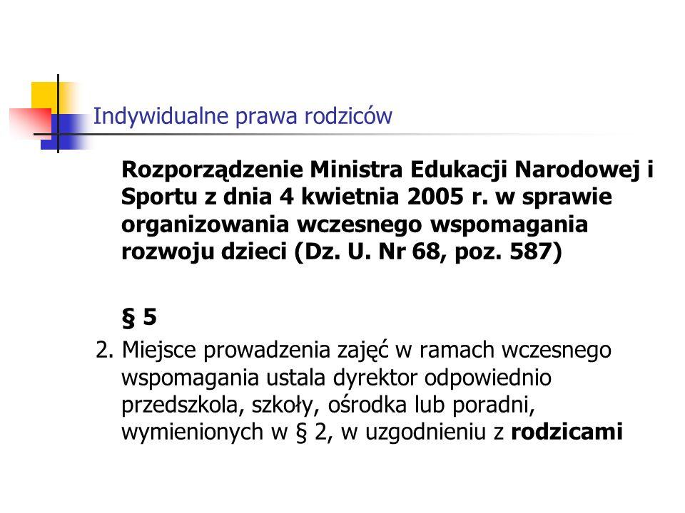 Indywidualne prawa rodziców Rozporządzenie Ministra Edukacji Narodowej i Sportu z dnia 4 kwietnia 2005 r.