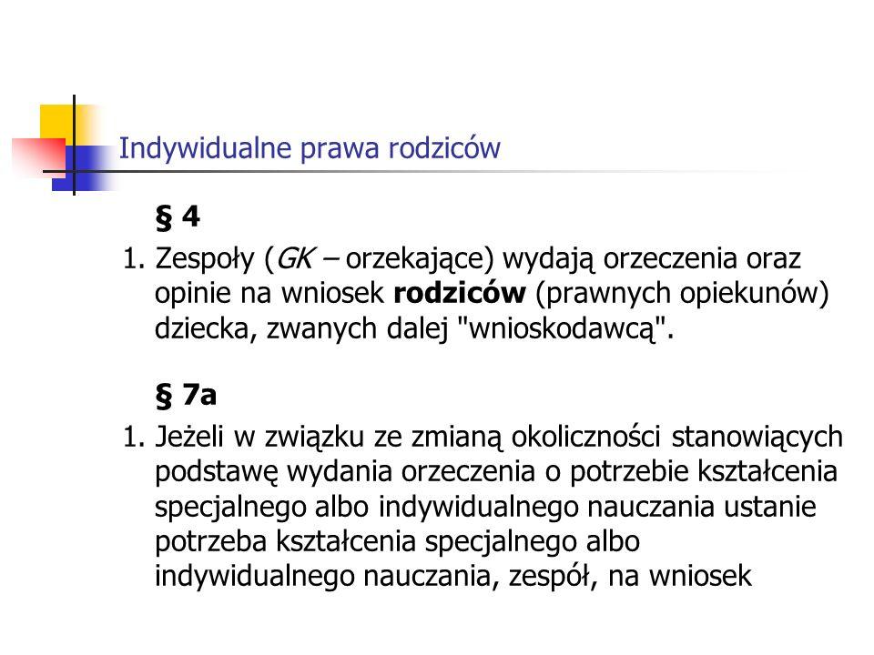 Indywidualne prawa rodziców § 4 1.