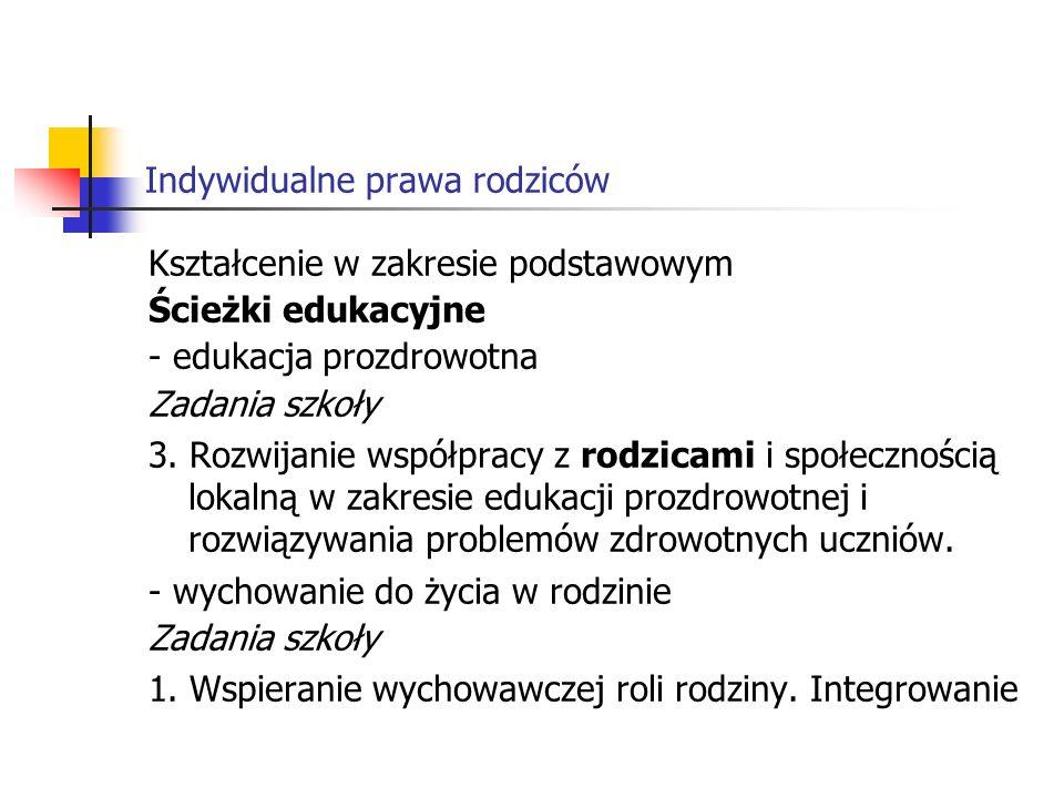 Indywidualne prawa rodziców Kształcenie w zakresie podstawowym Ścieżki edukacyjne - edukacja prozdrowotna Zadania szkoły 3.