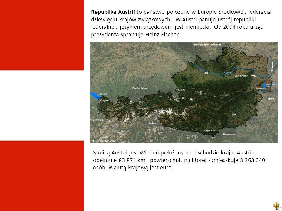 Republika Austrii to państwo położone w Europie Środkowej, federacja dziewięciu krajów związkowych.