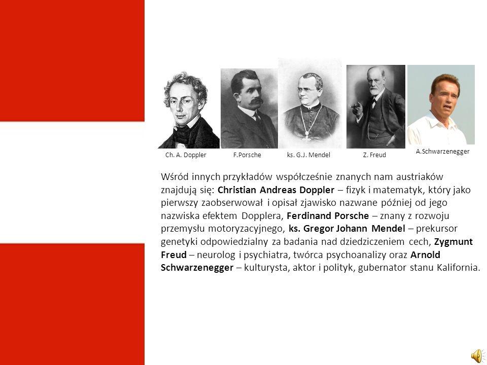 Wśród innych przykładów współcześnie znanych nam austriaków znajdują się: Christian Andreas Doppler – fizyk i matematyk, który jako pierwszy zaobserwował i opisał zjawisko nazwane później od jego nazwiska efektem Dopplera, Ferdinand Porsche – znany z rozwoju przemysłu motoryzacyjnego, ks.