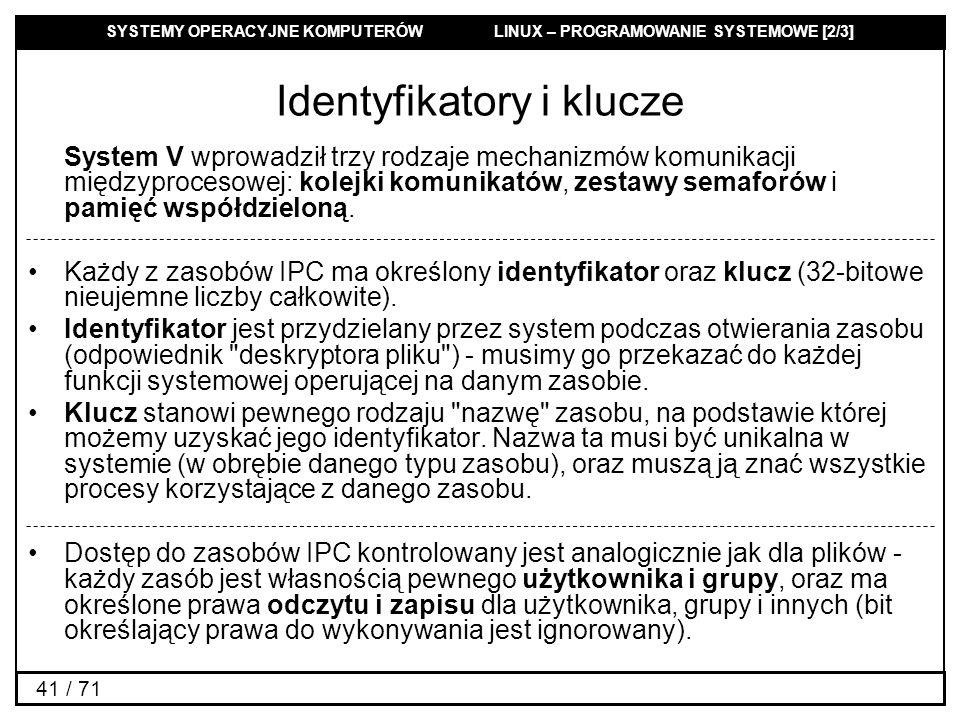 SYSTEMY OPERACYJNE KOMPUTERÓW LINUX – PROGRAMOWANIE SYSTEMOWE [2/3] 41 / 71 Identyfikatory i klucze System V wprowadził trzy rodzaje mechanizmów komun