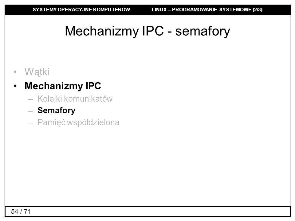SYSTEMY OPERACYJNE KOMPUTERÓW LINUX – PROGRAMOWANIE SYSTEMOWE [2/3] 54 / 71 Mechanizmy IPC - semafory Wątki Mechanizmy IPC –Kolejki komunikatów –Semaf