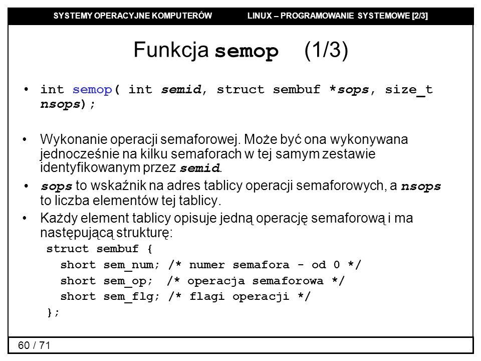 SYSTEMY OPERACYJNE KOMPUTERÓW LINUX – PROGRAMOWANIE SYSTEMOWE [2/3] 60 / 71 Funkcja semop (1/3) int semop( int semid, struct sembuf *sops, size_t nsop