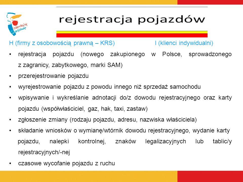 H (firmy z osobowością prawną – KRS)I (klienci indywidualni) rejestracja pojazdu (nowego zakupionego w Polsce, sprowadzonego z zagranicy, zabytkowego, marki SAM) przerejestrowanie pojazdu wyrejestrowanie pojazdu z powodu innego niż sprzedaż samochodu wpisywanie i wykreślanie adnotacji do/z dowodu rejestracyjnego oraz karty pojazdu (współwłaściciel, gaz, hak, taxi, zastaw) zgłoszenie zmiany (rodzaju pojazdu, adresu, nazwiska właściciela) składanie wniosków o wymianę/wtórnik dowodu rejestracyjnego, wydanie karty pojazdu, nalepki kontrolnej, znaków legalizacyjnych lub tablic/y rejestracyjnych/-nej czasowe wycofanie pojazdu z ruchu