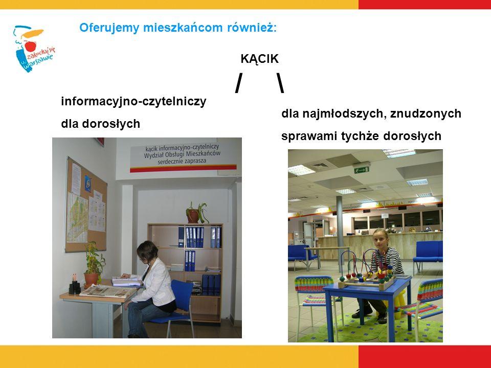 Oferujemy mieszkańcom również: informacyjno-czytelniczy dla dorosłych dla najmłodszych, znudzonych sprawami tychże dorosłych KĄCIK / \