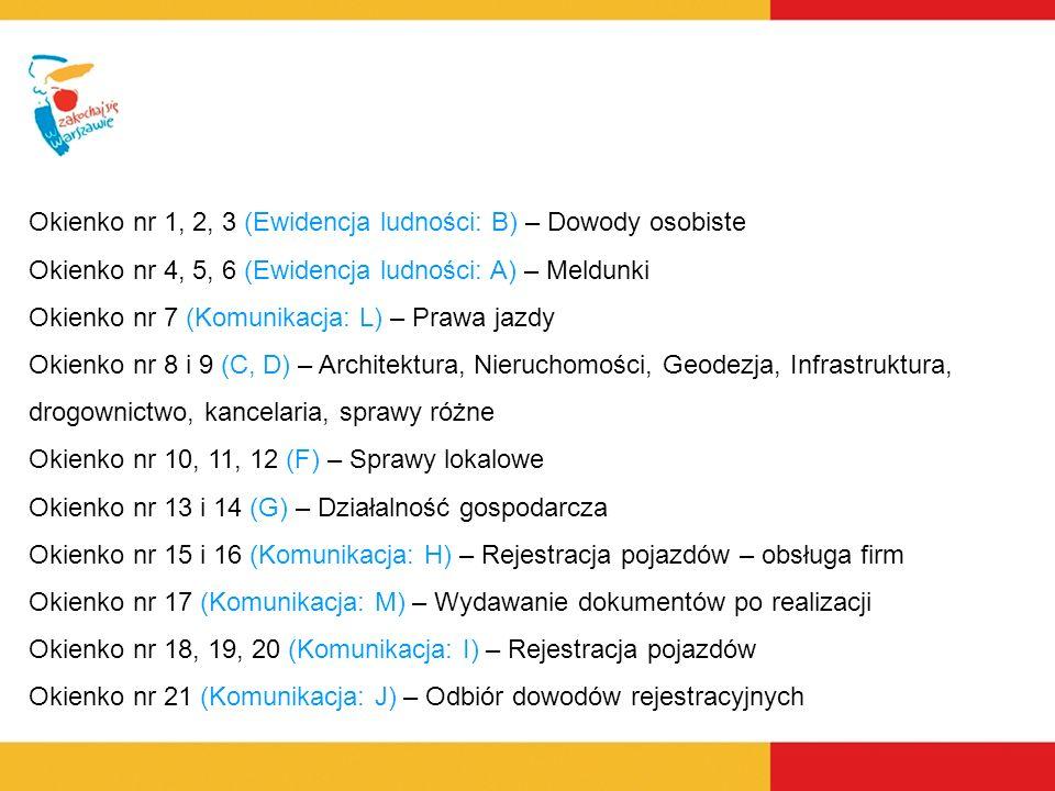 Okienko nr 1, 2, 3 (Ewidencja ludności: B) – Dowody osobiste Okienko nr 4, 5, 6 (Ewidencja ludności: A) – Meldunki Okienko nr 7 (Komunikacja: L) – Prawa jazdy Okienko nr 8 i 9 (C, D) – Architektura, Nieruchomości, Geodezja, Infrastruktura, drogownictwo, kancelaria, sprawy różne Okienko nr 10, 11, 12 (F) – Sprawy lokalowe Okienko nr 13 i 14 (G) – Działalność gospodarcza Okienko nr 15 i 16 (Komunikacja: H) – Rejestracja pojazdów – obsługa firm Okienko nr 17 (Komunikacja: M) – Wydawanie dokumentów po realizacji Okienko nr 18, 19, 20 (Komunikacja: I) – Rejestracja pojazdów Okienko nr 21 (Komunikacja: J) – Odbiór dowodów rejestracyjnych