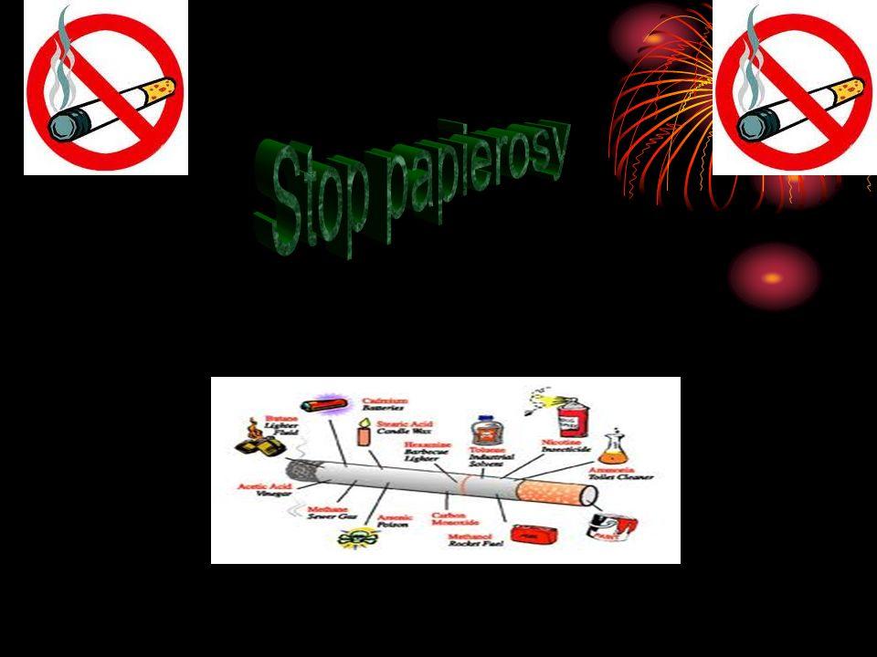 Papierosy Papieros - wyrób tytoniowy składający się z rurki z cienkiej bibułki (gilzy) o średnicy do 1 cm i długości do 12 cm (zwykle 85 mm), wewnątrz której znajduje się mieszanka tytoniowa zawierająca spreparowane liście różnych odmian tytoniu (lub rzadziej marihuany, cracku czy innych substancji działających narkotycznie).tytoniumarihuanycracku Podczas palenia papierosa zawarta w dymie papierosowym nikotyna dostaje się do krwi i wywiera swoje działanie na organizm palacza.