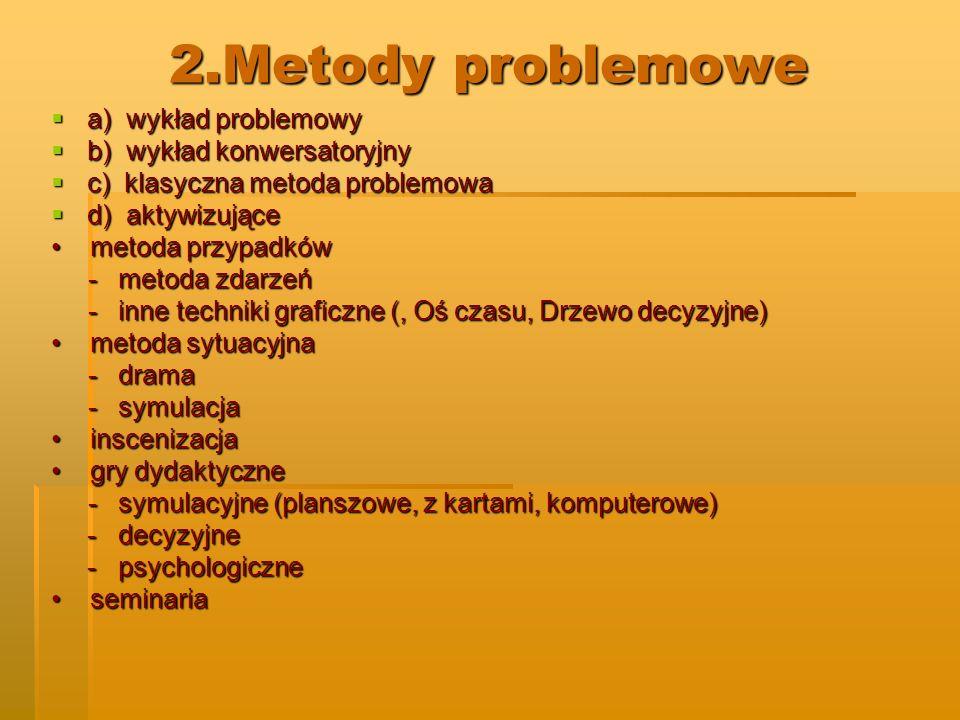 2.Metody problemowe a) wykład problemowy a) wykład problemowy b) wykład konwersatoryjny b) wykład konwersatoryjny c) klasyczna metoda problemowa c) kl