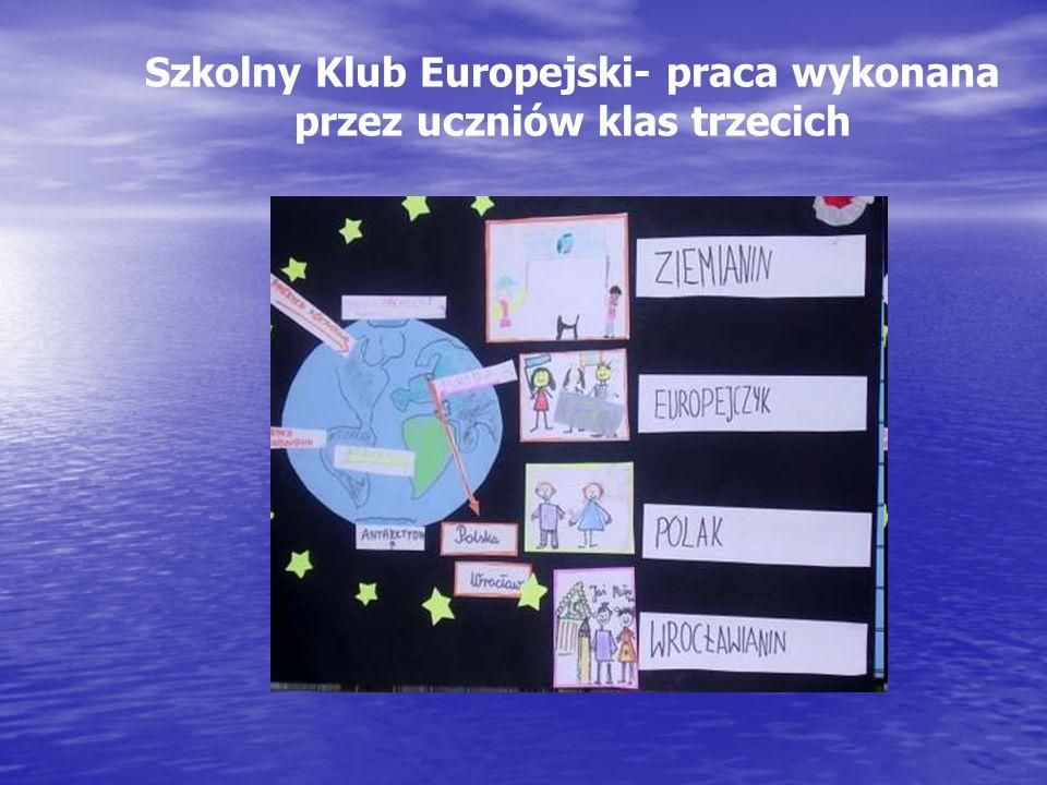 Szkolny Klub Europejski- praca wykonana przez uczniów klas trzecich