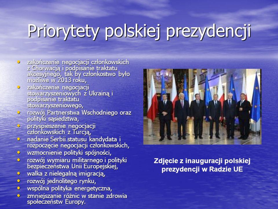Priorytety polskiej prezydencji zakończenie negocjacji członkowskich z Chorwacją i podpisanie traktatu akcesyjnego, tak by członkostwo było możliwe w