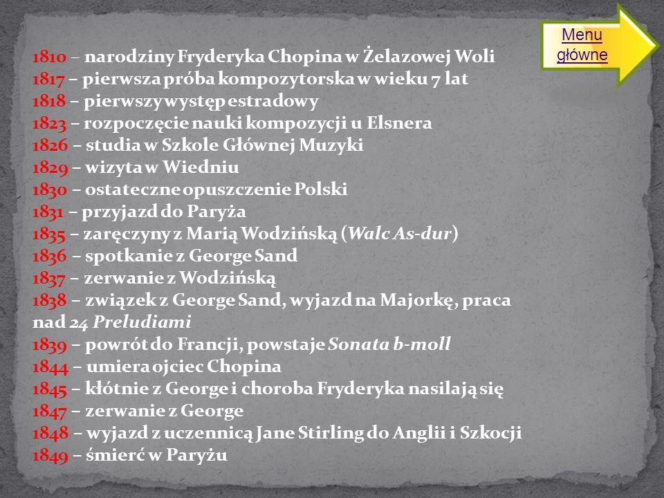1810 – narodziny Fryderyka Chopina w Żelazowej Woli 1817 – pierwsza próba kompozytorska w wieku 7 lat 1818 – pierwszy występ estradowy 1823 – rozpoczęcie nauki kompozycji u Elsnera 1826 – studia w Szkole Głównej Muzyki 1829 – wizyta w Wiedniu 1830 – ostateczne opuszczenie Polski 1831 – przyjazd do Paryża 1835 – zaręczyny z Marią Wodzińską (Walc As-dur) 1836 – spotkanie z George Sand 1837 – zerwanie z Wodzińską 1838 – związek z George Sand, wyjazd na Majorkę, praca nad 24 Preludiami 1839 – powrót do Francji, powstaje Sonata b-moll 1844 – umiera ojciec Chopina 1845 – kłótnie z George i choroba Fryderyka nasilają się 1847 – zerwanie z George 1848 – wyjazd z uczennicą Jane Stirling do Anglii i Szkocji 1849 – śmierć w Paryżu Menu główneMenu główne