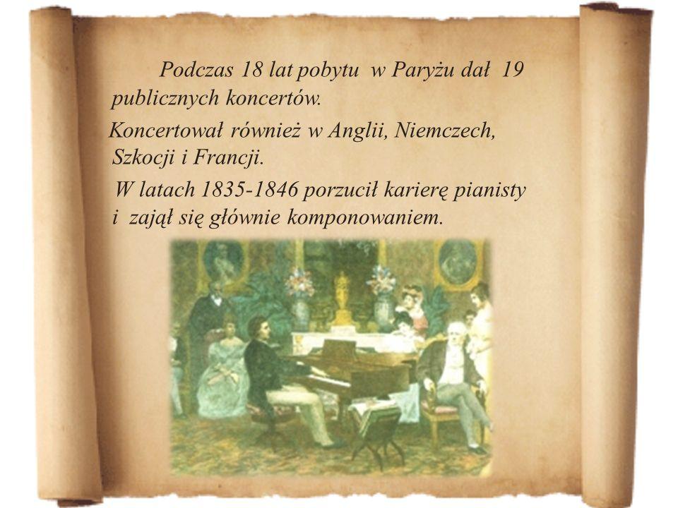 Podczas 18 lat pobytu w Paryżu dał 19 publicznych koncertów. Koncertował również w Anglii, Niemczech, Szkocji i Francji. W latach 1835-1846 porzucił k