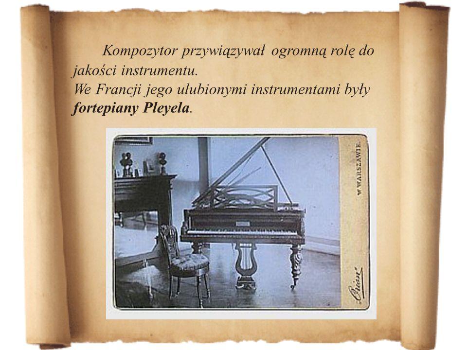 Kompozytor przywiązywał ogromną rolę do jakości instrumentu. We Francji jego ulubionymi instrumentami były fortepiany Pleyela.