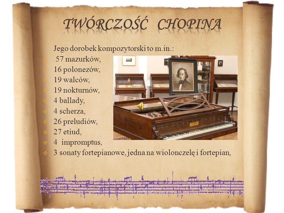 Jego dorobek kompozytorski to m.in.: 57 mazurków, 16 polonezów, 19 walców, 19 nokturnów, 4 ballady, 4 scherza, 26 preludiów, 27 etiud, 4 impromptus, 3