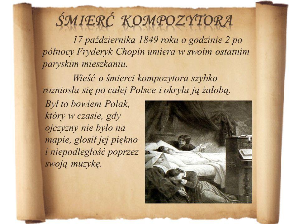 Wieść o śmierci kompozytora szybko rozniosła się po całej Polsce i okryła ją żałobą. Był to bowiem Polak, który w czasie, gdy ojczyzny nie było na map
