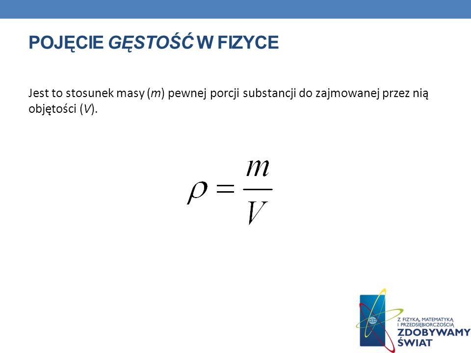 POJĘCIE GĘSTOŚĆ W FIZYCE Jest to stosunek masy (m) pewnej porcji substancji do zajmowanej przez nią objętości (V).