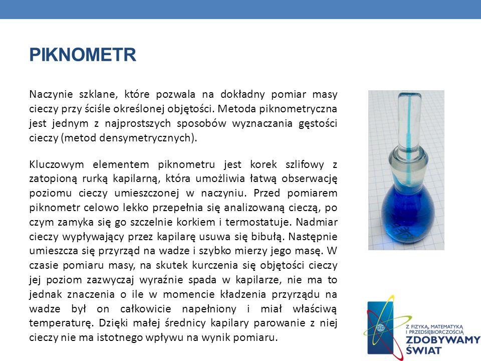 PIKNOMETR Naczynie szklane, które pozwala na dokładny pomiar masy cieczy przy ściśle określonej objętości. Metoda piknometryczna jest jednym z najpros