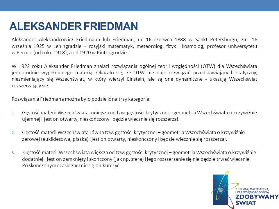 ALEKSANDER FRIEDMAN Aleksander Aleksandrowicz Friedmann lub Friedman, ur. 16 czerwca 1888 w Sankt Petersburgu, zm. 16 września 1925 w Leningradzie – r