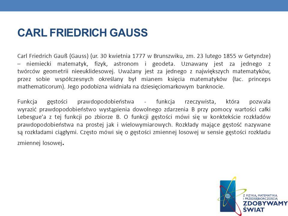 CARL FRIEDRICH GAUSS Carl Friedrich Gauß (Gauss) (ur. 30 kwietnia 1777 w Brunszwiku, zm. 23 lutego 1855 w Getyndze) – niemiecki matematyk, fizyk, astr