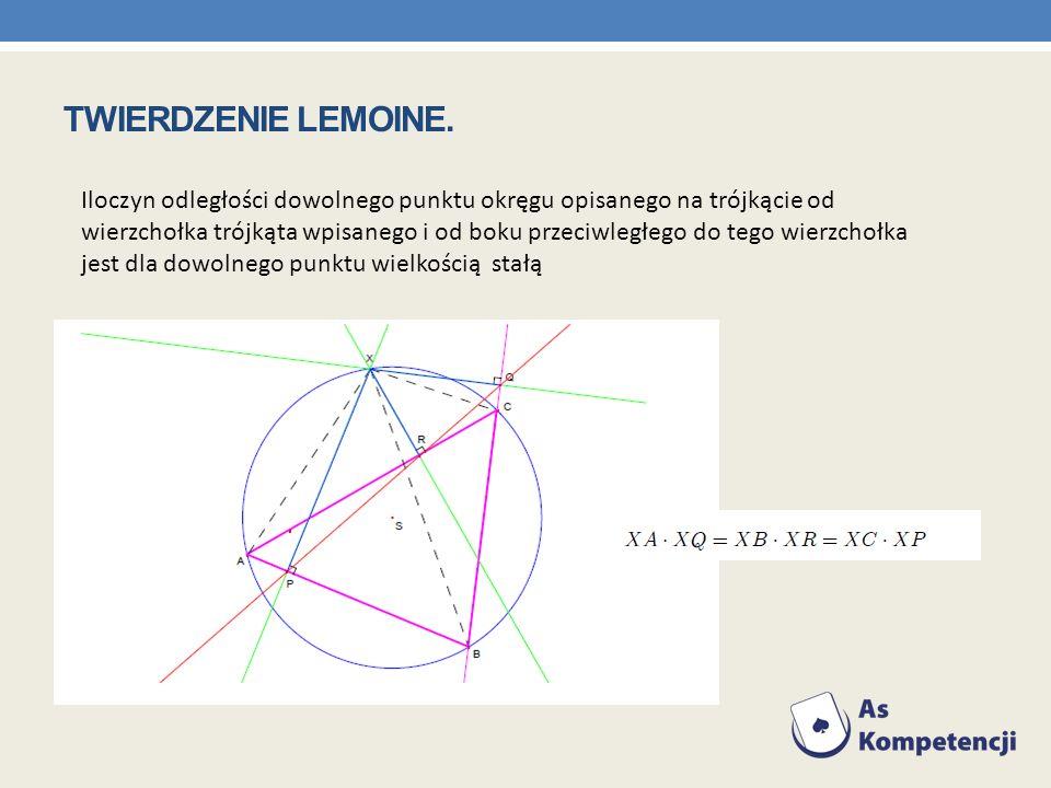 Iloczyn odległości dowolnego punktu okręgu opisanego na trójkącie od wierzchołka trójkąta wpisanego i od boku przeciwległego do tego wierzchołka jest