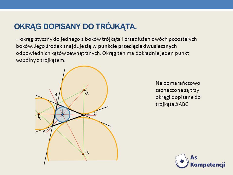 – okrąg styczny do jednego z boków trójkąta i przedłużeń dwóch pozostałych boków. Jego środek znajduje się w punkcie przecięcia dwusiecznych odpowiedn
