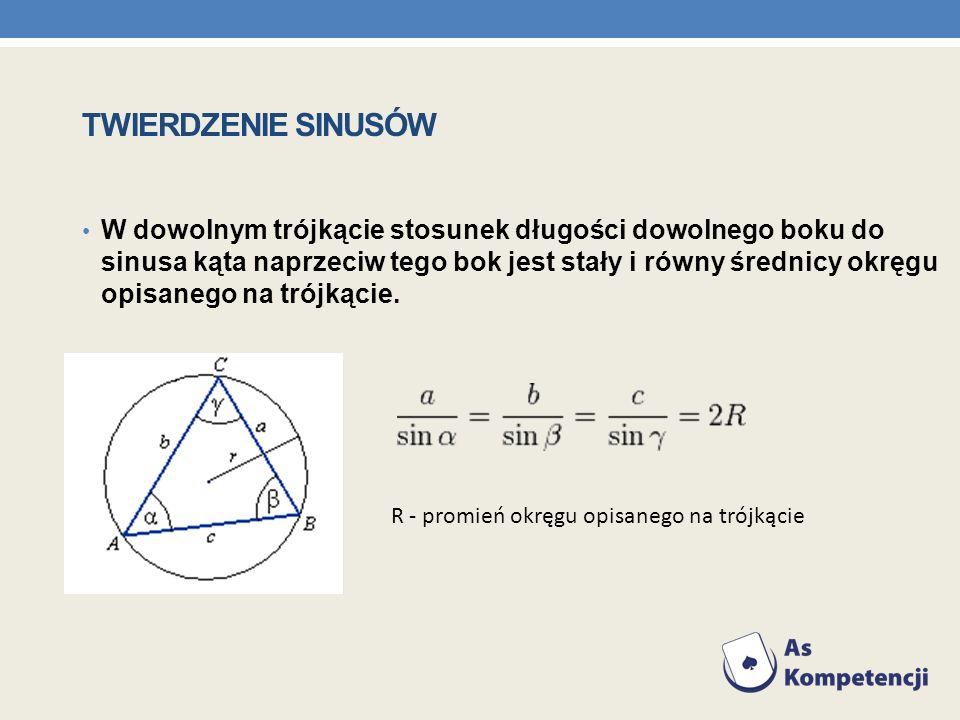 TWIERDZENIE SINUSÓW W dowolnym trójkącie stosunek długości dowolnego boku do sinusa kąta naprzeciw tego bok jest stały i równy średnicy okręgu opisane