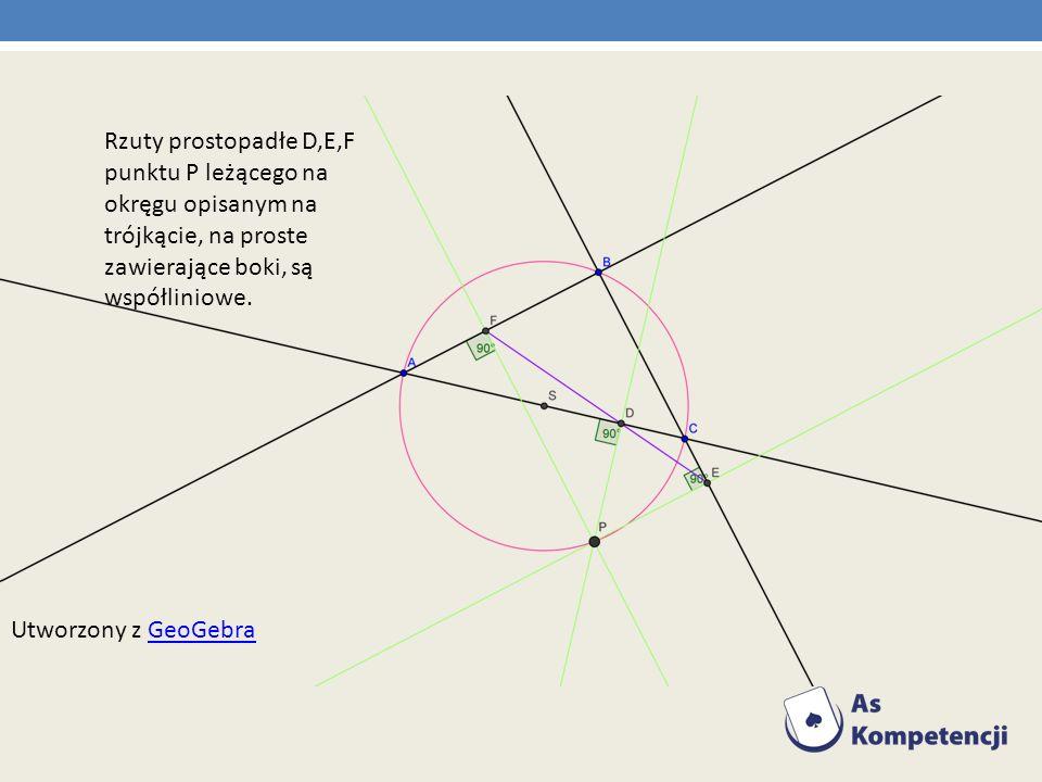 Rzuty prostopadłe D,E,F punktu P leżącego na okręgu opisanym na trójkącie, na proste zawierające boki, są współliniowe. Utworzony z GeoGebraGeoGebra