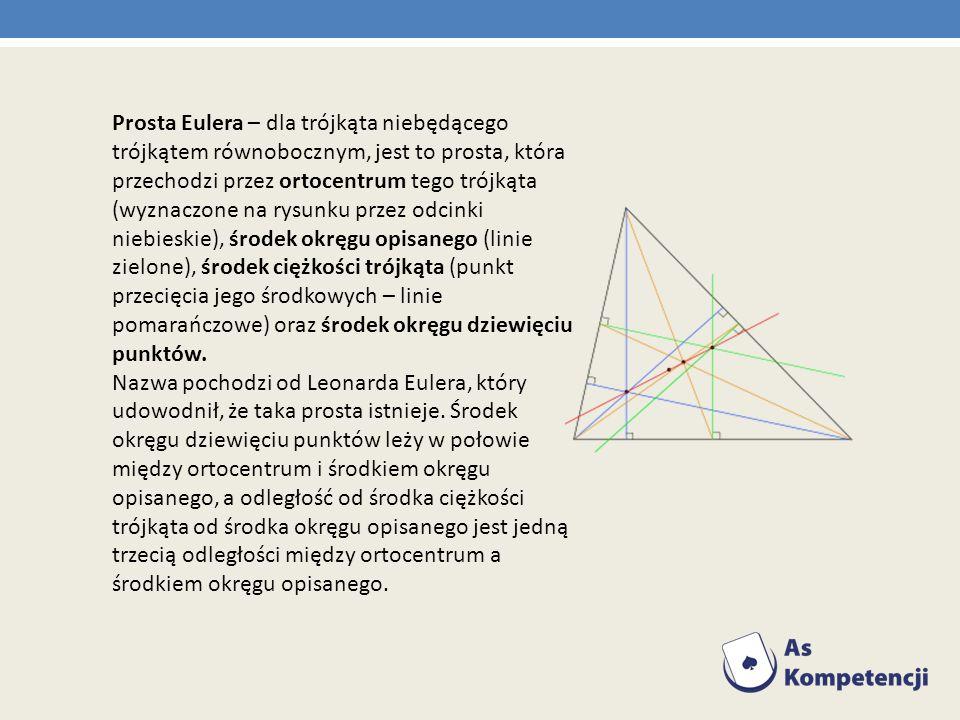 Prosta Eulera – dla trójkąta niebędącego trójkątem równobocznym, jest to prosta, która przechodzi przez ortocentrum tego trójkąta (wyznaczone na rysun