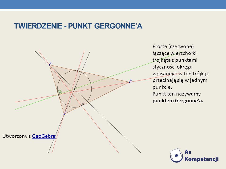 Proste (czerwone) łączące wierzchołki trójkąta z punktami styczności okręgu wpisanego w ten trójkąt przecinają się w jednym punkcie. Punkt ten nazywam