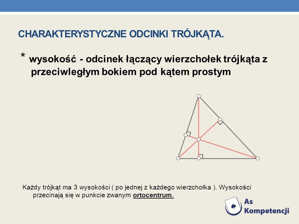 * wysokość - odcinek łączący wierzchołek trójkąta z przeciwległym bokiem pod kątem prostym Każdy trójkąt ma 3 wysokości ( po jednej z każdego wierzcho