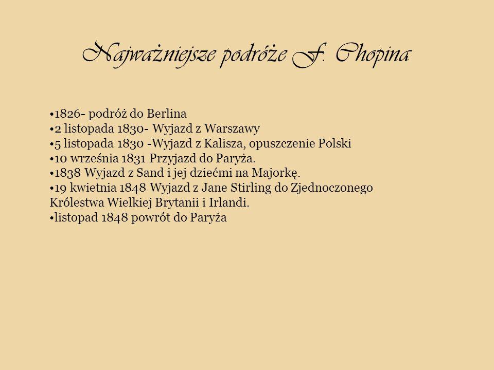 1826- podróż do Berlina 2 listopada 1830- Wyjazd z Warszawy 5 listopada 1830 -Wyjazd z Kalisza, opuszczenie Polski 10 września 1831 Przyjazd do Paryża.