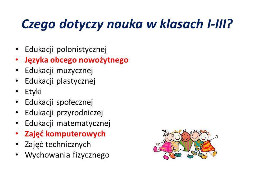 Czego dotyczy nauka w klasach I-III? Edukacji polonistycznej Języka obcego nowożytnego Edukacji muzycznej Edukacji plastycznej Etyki Edukacji społeczn