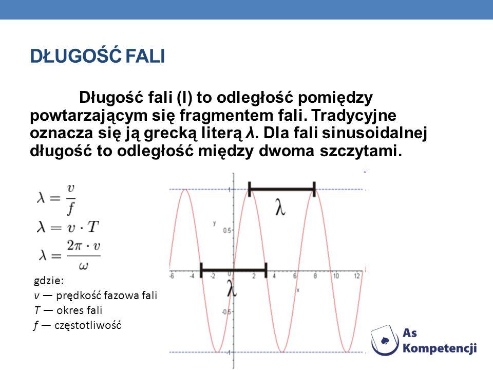 DŁUGOŚĆ FALI Długość fali (l) to odległość pomiędzy powtarzającym się fragmentem fali.