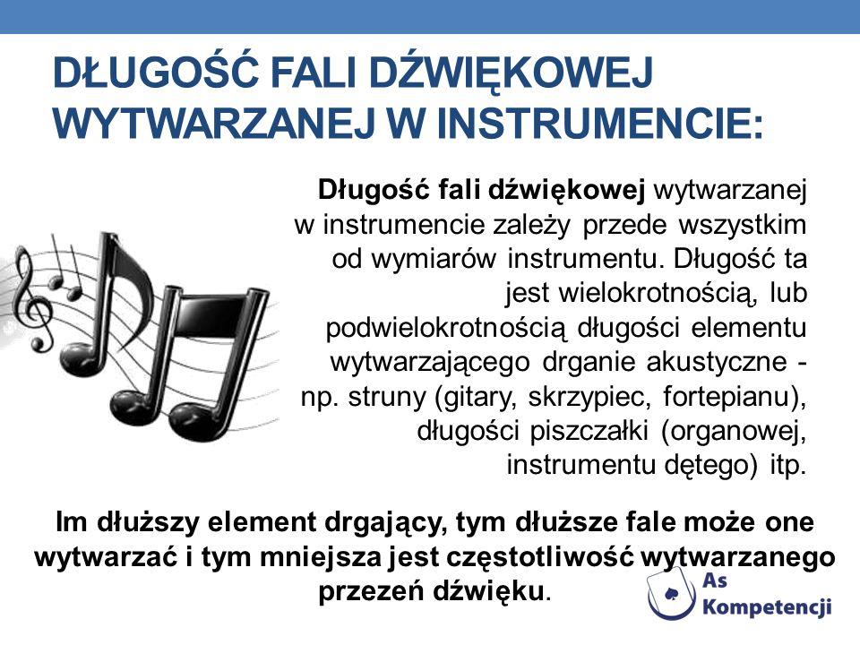 Długość fali dźwiękowej wytwarzanej w instrumencie zależy przede wszystkim od wymiarów instrumentu.