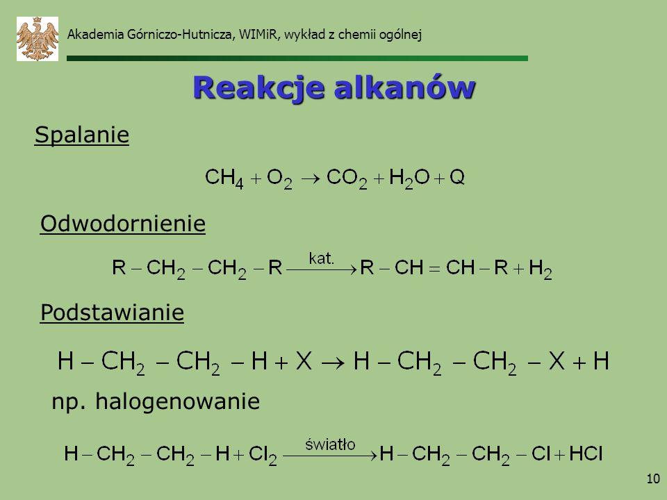 10 Reakcje alkanów Spalanie Podstawianie Odwodornienie np. halogenowanie Akademia Górniczo-Hutnicza, WIMiR, wykład z chemii ogólnej