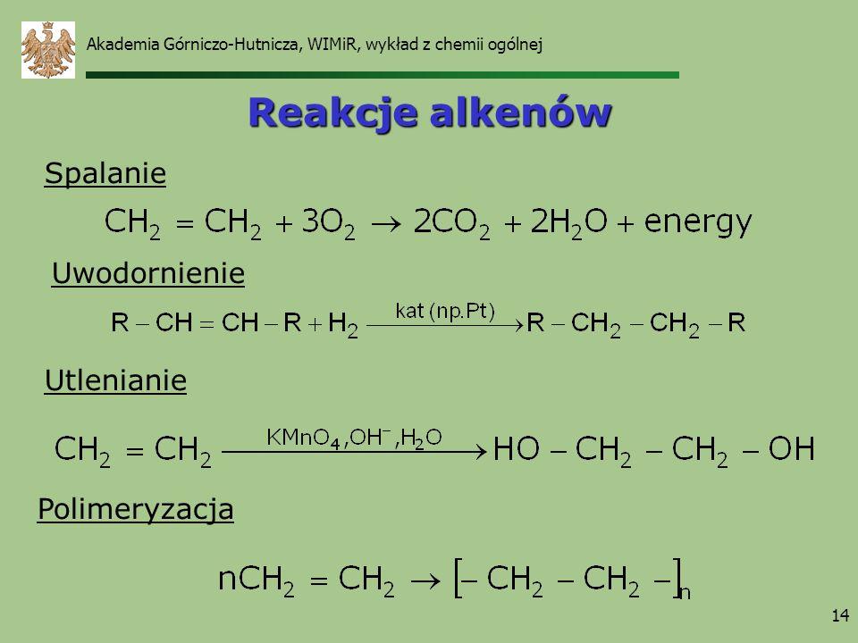 14 Reakcje alkenów Spalanie Uwodornienie Utlenianie Polimeryzacja Akademia Górniczo-Hutnicza, WIMiR, wykład z chemii ogólnej