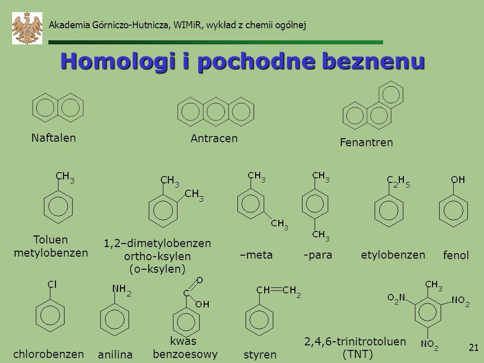 21 Homologi i pochodne beznenu Naftalen Antracen Fenantren etylobenzen Toluen metylobenzen anilina fenol kwas benzoesowy chlorobenzen –meta-para 2,4,6