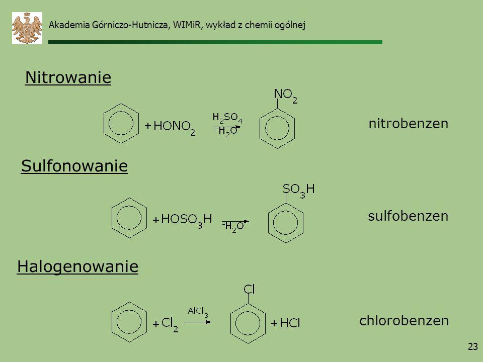 23 Nitrowanie Sulfonowanie nitrobenzen Halogenowanie sulfobenzen chlorobenzen Akademia Górniczo-Hutnicza, WIMiR, wykład z chemii ogólnej