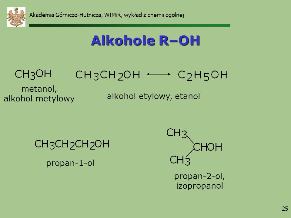 25 Alkohole R–OH metanol, alkohol metylowy alkohol etylowy, etanol propan-1-ol propan-2-ol, izopropanol