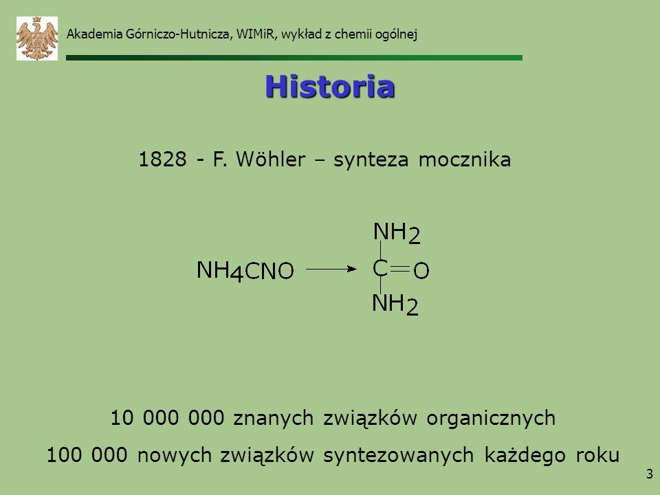 3 Historia 1828 - F. Wöhler – synteza mocznika 10 000 000 znanych związków organicznych 100 000 nowych związków syntezowanych każdego roku Akademia Gó