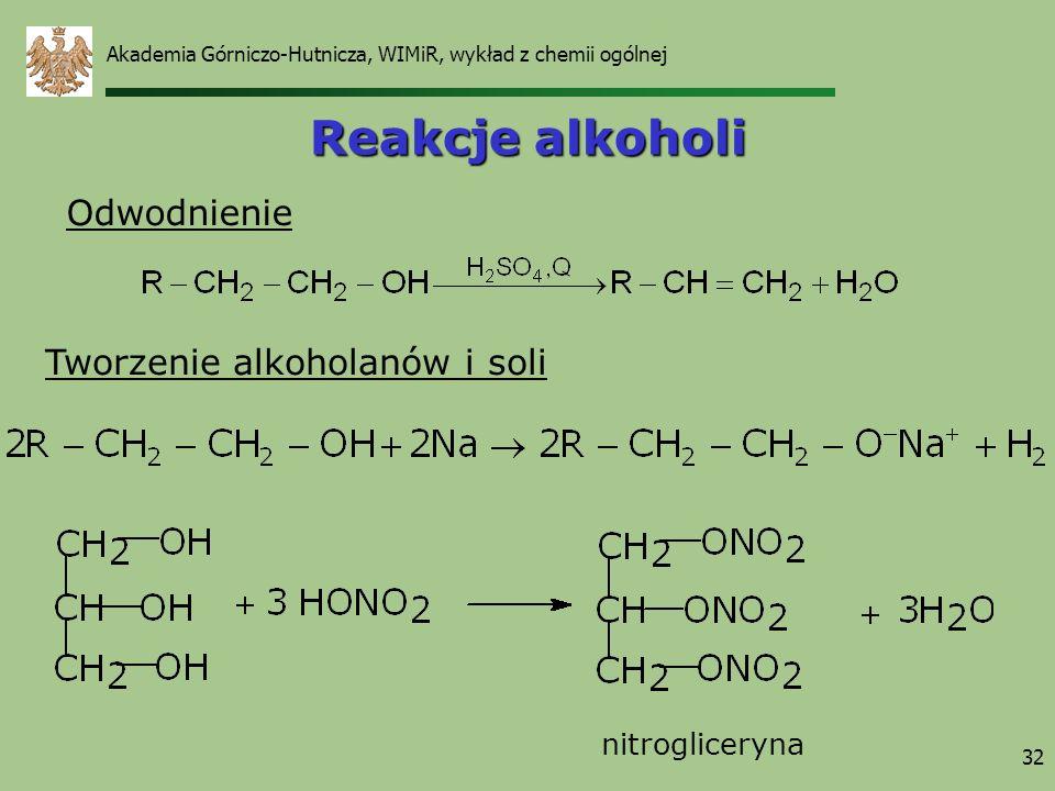 Akademia Górniczo-Hutnicza, WIMiR, wykład z chemii ogólnej 32 Reakcje alkoholi Odwodnienie Tworzenie alkoholanów i soli nitrogliceryna