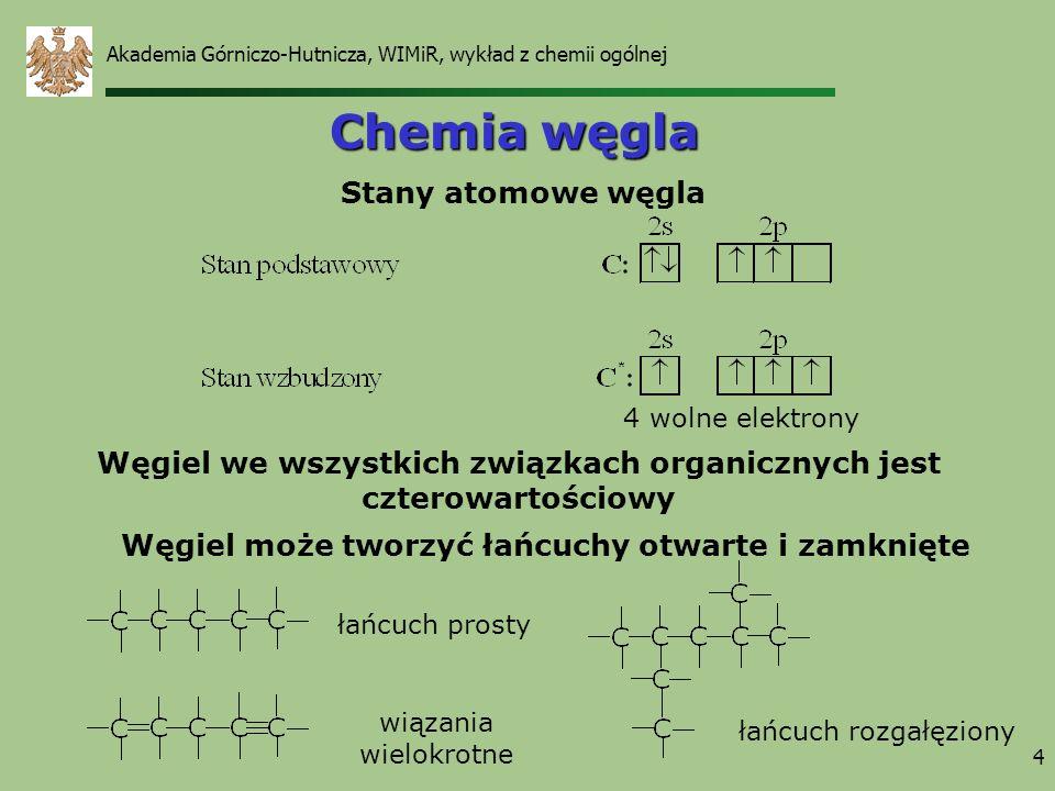 4 Chemia węgla Węgiel we wszystkich związkach organicznych jest czterowartościowy 4 wolne elektrony Węgiel może tworzyć łańcuchy otwarte i zamknięte S