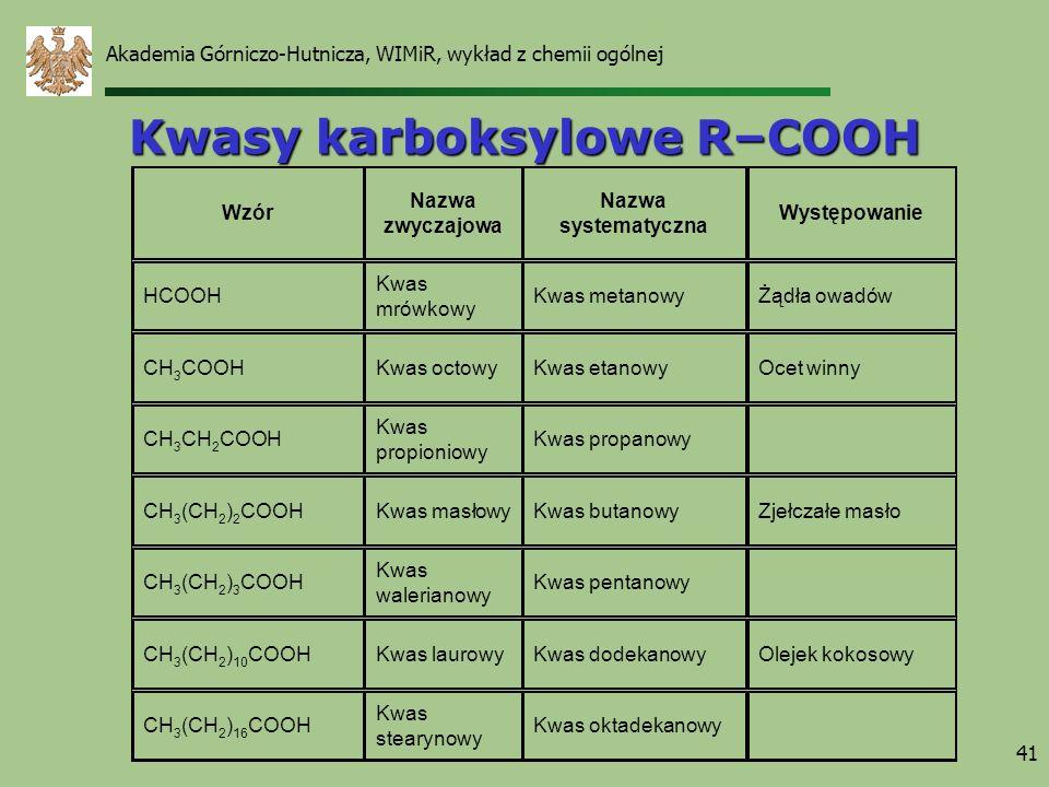 Akademia Górniczo-Hutnicza, WIMiR, wykład z chemii ogólnej 41 Kwasy karboksylowe R–COOH Wzór Nazwa zwyczajowa Nazwa systematyczna Występowanie HCOOH K